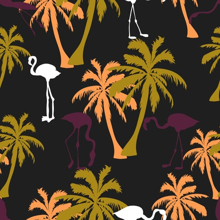 Seamless hand drawn botanical exotic vector pattern with silhouette coconut palm trees and flamingos on black background.