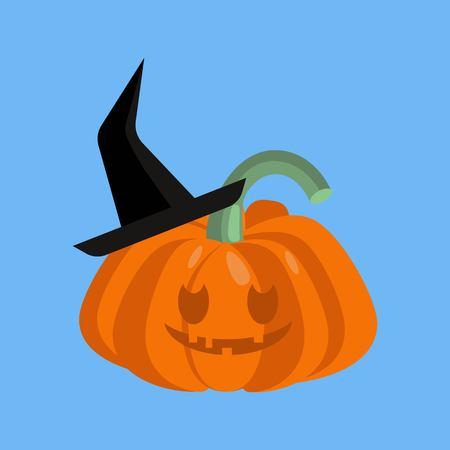 Haloween pumpkin with a cut face wearing black hat.