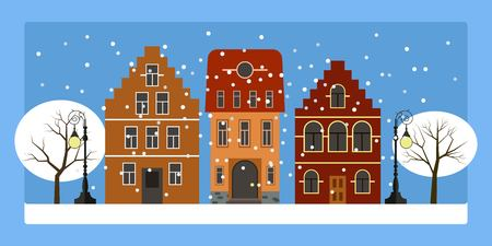 Vector drawn christmas city with cottages, snow, street lamps and winter trees.