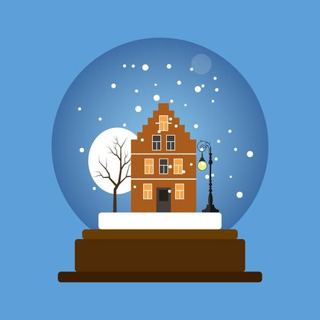 Christmas snow globe with a house, lantern and winter tree.