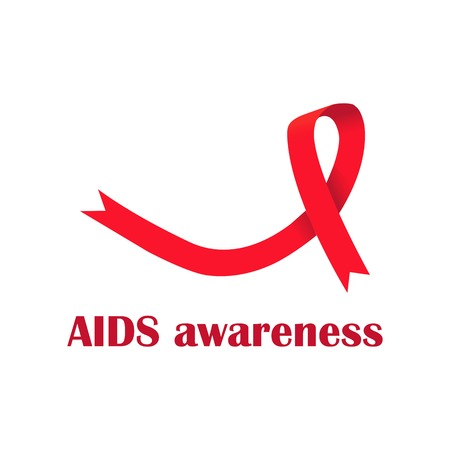 AIDS awareness symbol. Realistic red ribbon. Vector illustration.