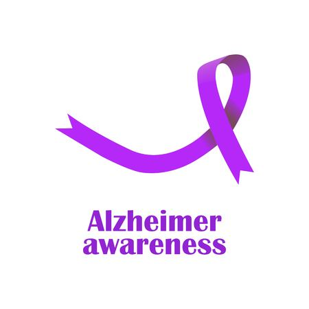 Alzheimer awareness symbol. Realistic violet ribbon. Vector illustration.