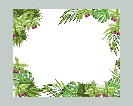 Green tropical palm leaf and orchids flowers decorative border frame. Vector elegant template Иллюстрация