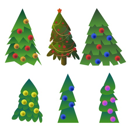 Set of vector drawn fur trees with new year decorations. Иллюстрация