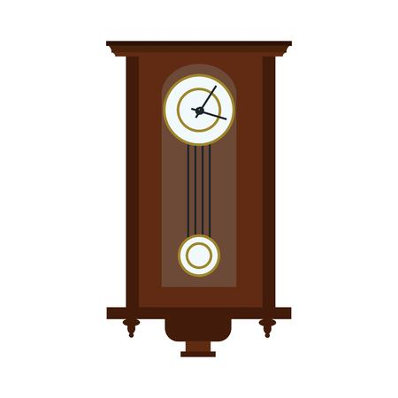 Antique brown vector clock on white background.