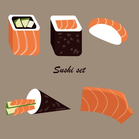 Vector set of sushi food icons. Uramaki, maki, negiri, temaki, sashimi.