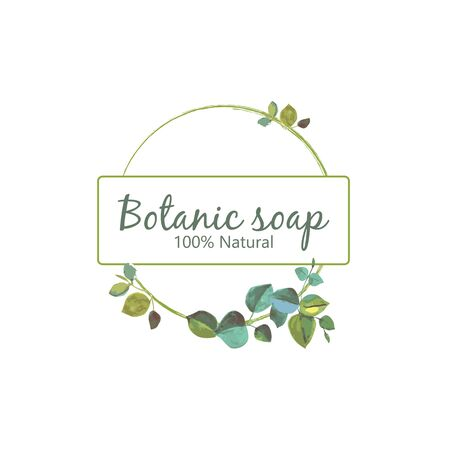 Botanic soap logo. Natural product design. Watercolor hand drawn logo.