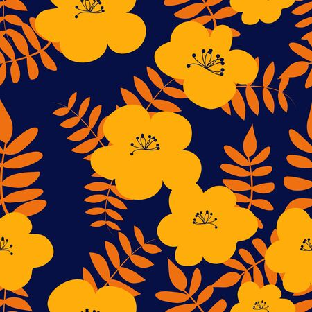 Vector drawn yellow flowers seamless pattern with orange leaves on blue background. Иллюстрация