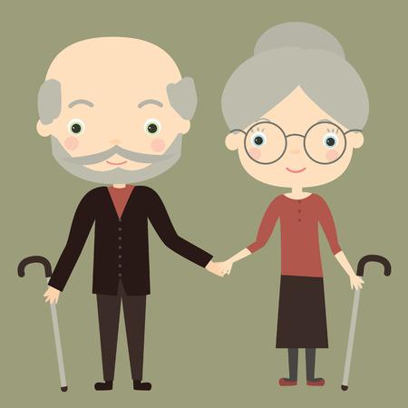 pensionado: linda pareja de ancianos. Ilustración del vector