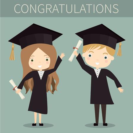 toga y birrete: chico y chica lindo graduados. ilustración vectorial