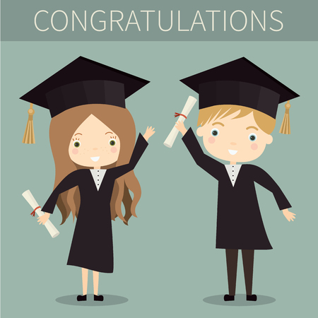 master degree: Cute boy and girl graduates. Vector illustration