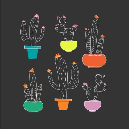 Modern vector illustration with cute cactus set isolated on dark background.