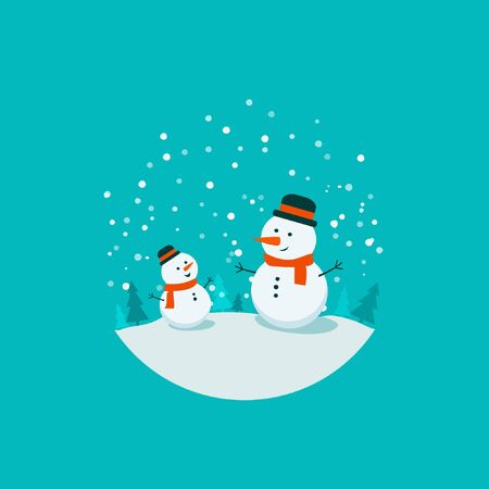 Flat bright vector illustration, cartoon big and small snowman, trees, flakes, snow in circle. Snowman family. Christmas and New Year card.