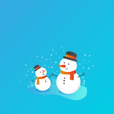Flat bright vector banner illustration, cartoon big and small snowman, trees, flakes, snow in circle. Snowman family. Christmas and New Year card.