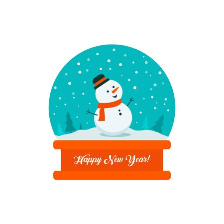 Flat bright vector illustration, snow globe with snowman, trees, flakes, snow inside with inscription Happy New Year.