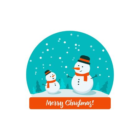 Flat bright vector illustration, snow globe with big and little snowman, trees, flakes, snow inside with inscription Merry Christmas.