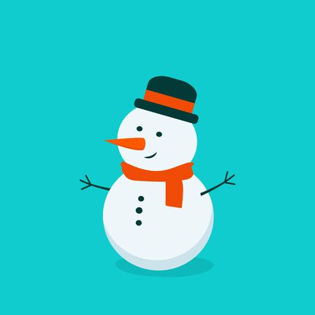 Flat bright vector illustration, cartoon big snowman isolated on turquoise background. Christmas and New Year card. Winter art. Ilustracja