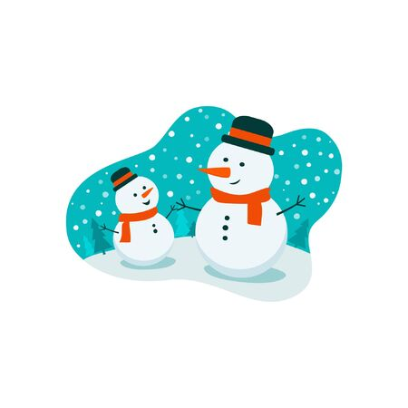 Flat bright vector illustration, cartoon big and small snowman, trees, flakes on white. Snowman family. Christmas and New Year card.