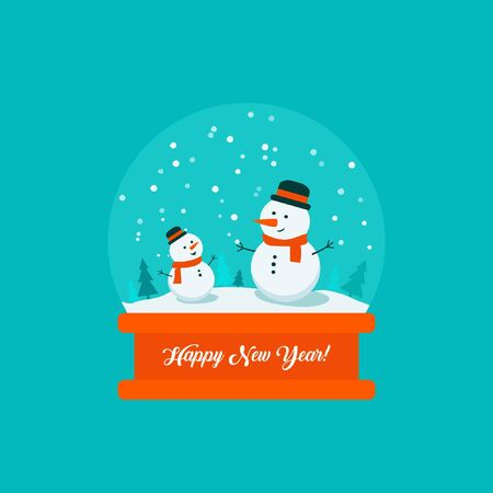 Flat bright vector illustration, snow globe with big and little snowman, trees, flakes, snow inside with inscription Happy New Year. Ilustracja