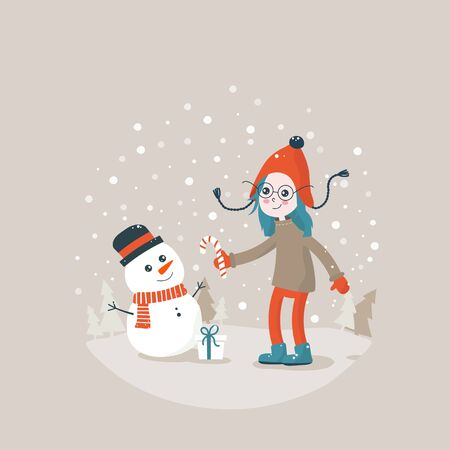 Girl and snowman. Flat bright vector illustration, cartoon doodle, child making snowman. Trees, flakes, snow in circle. Christmas and New Year cute card. Ilustracja