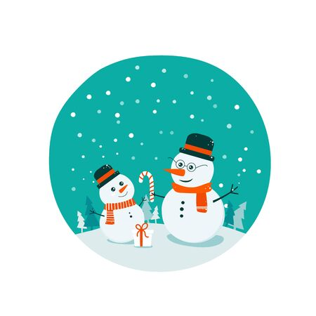 Flat bright vector illustration, cartoon doodle big and small child snowman, trees, flakes, snow in circle. Snowman family. Christmas and New Year card. Ilustracja