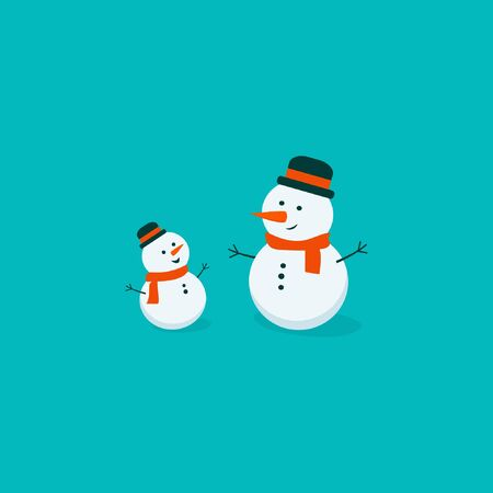 Flat bright vector illustration, cartoon big and small snowman isolated on turquoise background. Snowman family. Christmas and New Year card. Winter art.