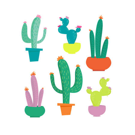 Modern vector illustration with cute cactus set isolated on white background.