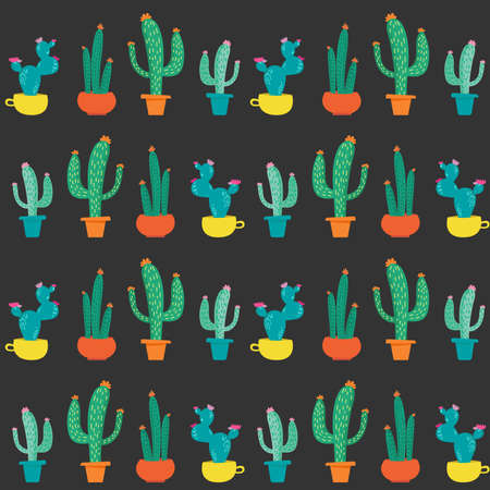 Seamless pattern with hand drawn abstract cactus in colorful pots on dark background. Floral doodle elements for prints.