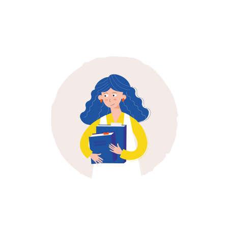 girl with books vector Иллюстрация