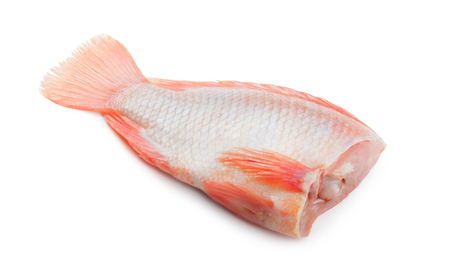 Headless red tilapia fish isolated on white background Foto de archivo