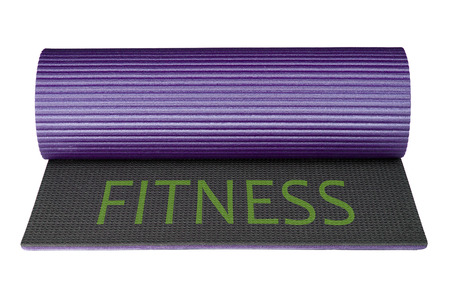 Mat for fitness isolated on white background