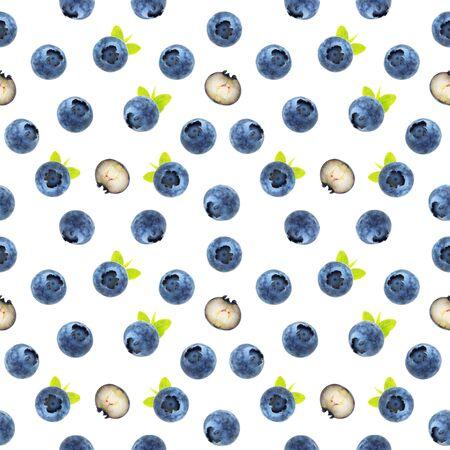 Seamless blueberry pattern 스톡 콘텐츠