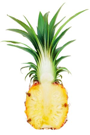 Cut pineapple isolated on white background