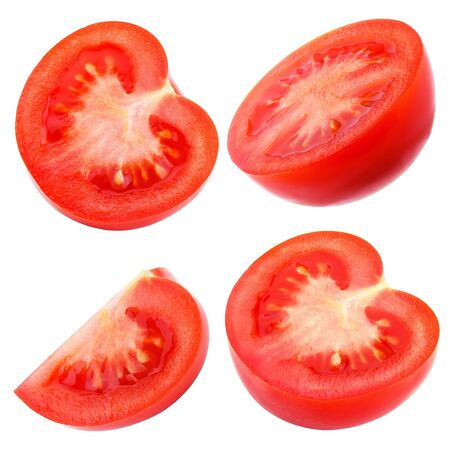 Pieces of cut fresh tomatoes isolated on white background. Collection