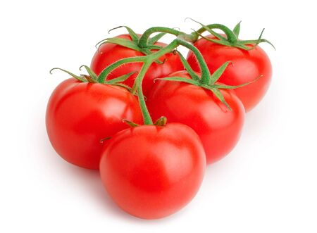 Bunch of tomatoes isolated on white background