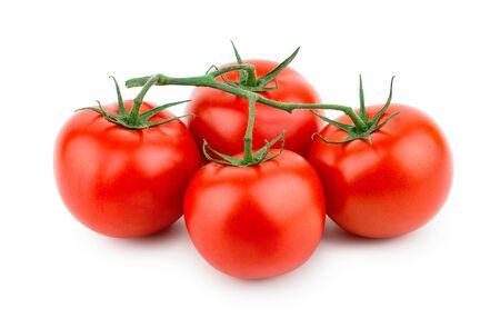 Tomaten geïsoleerd op een witte achtergrond. Vooraanzicht