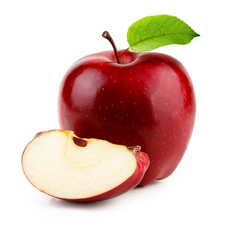 Red apple with slice and leaf isolated on white background Imagens