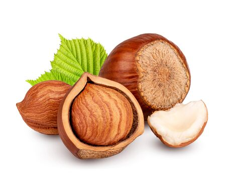 Hazelnuts with leaves isolated on white background as package design element