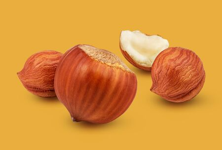 Hazelnuts with leaves isolated on colorful background as package design element