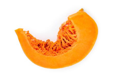 Slice of pumpkin isolated on white background without shadow, top view, flat lay Banque d'images