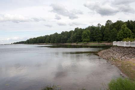 Embankment in Petergof City near the Baltic Sea