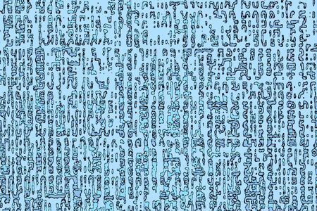 Abstract patterns in the style of the ancient scriptures on a blue background.