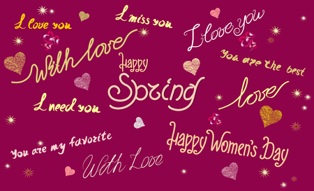 Pattern with different fonts and inscriptions, happy spring, happy womens day, I love you, I miss you, youre the best, on a claret background with hearts, stars and sparkles
