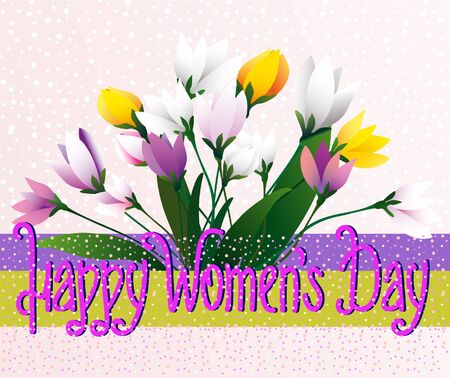 Happy Womens Day. Greeting card with a bouquet of spring flowers and an inscription on a multi-colored background. Ilustração