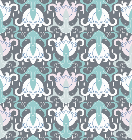 Seamless floral ornament on a gray background. Pastel combinations of tones. Contemporary design. Vettoriali