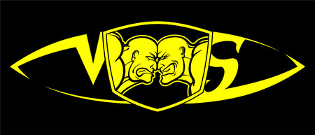 Confrontation of two forces, vs, wrestlers, battle, yellow on black, sign, logo, poster, banner Illustration