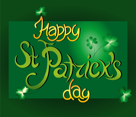 vector inscription on St.Petersburg Patricks day greeting card with clover figures and leaves on a green background with green and gold letters Illustration