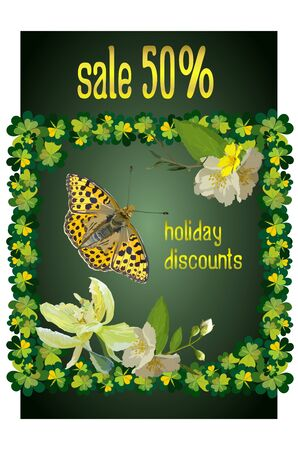 Sale, holiday discount up to 50%, green banner with a discount for the site, for St. Patrick's Day, a billboard or flyer decorated with plants, clover leaves, buds of lilies and jasmine. Stock Illustratie
