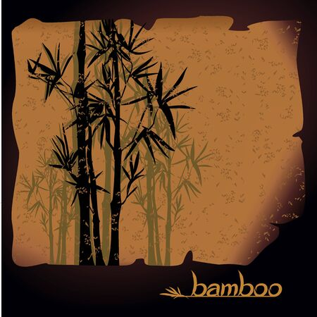 Abstract oriental vector ink landscape with bamboo on old papyrus. Vector silhouettes with handwritten font. Japanese, chinese style