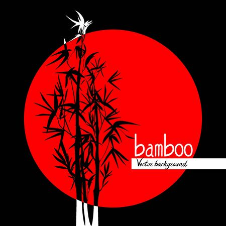 Vector isolated black and red ink bamboo with leaves and branches on a circle background. Illustration in Chinese and Japanese style, contrast graphics